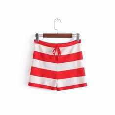 2018 Spring New Mixed Color Striped Knit Shorts High Waist Cotton Slim Short Pants-D1141
