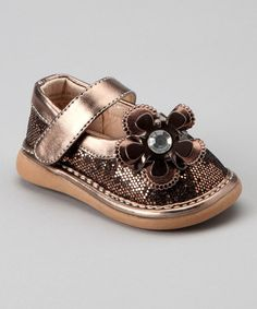 Take a look at this Pickle Footwear Pickle Bronze Sparkle Squeaker Mary Jane by Laniecakes & Pickle Footwear on #zulily today!