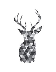 Monochrome Deer Geometric Deer Monochromatic door happybearprints