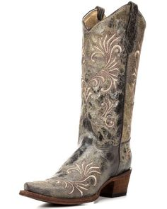 Women's Circle G by Corral Distressed Filigree Snip Toe Boot - Antique Brass, Antique Brass