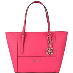Guess Delaney Logo Tote (435 BRL) ❤ liked on Polyvore featuring bags, handbags, tote bags, passion pink, leather tote, genuine leather tote bag, genuine leather handbags, guess purses and pink tote