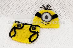 Envío gratis ganchillo minion amarillo beanie sombreros y diaperPhotography Props 5 unids/lote(China (Mainland))