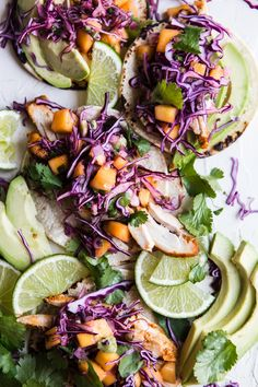 Chicken Tacos with Mango Slaw. Citrus marinated chicken juicy mango and cabbage slaw come together atop warm corn tortillas to make these the perfect meal. Fruit Recipes, Mexican Food Recipes, Chicken Recipes, Healthy Recipes, Summer Recipes, Salad Recipes, Grilled Veggies, Grilled Meat, Chicken Tacos