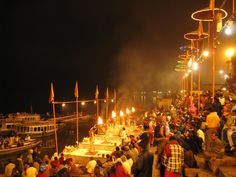 Ganga Aarti in Varanasi in the evening and the chaos in the place during the day.