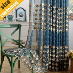 Find More Curtains Information about 3D Peacock Feather Volie Curtain 100% Polyester Fabric for Living Room Home Decoration Shading Rate 40%Sheer Curtain Blue Coffee,High Quality Curtains from 5 Stars Home Textile on Aliexpress.com