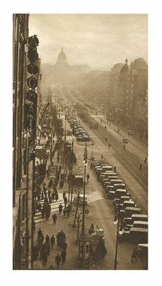 Prague, Wenceslas Square by unknown author, Old Pictures, Old Photos, Vintage Photos, Fantasy City, Prague Czech Republic, Heart Of Europe, World View, Old Postcards, Wonders Of The World