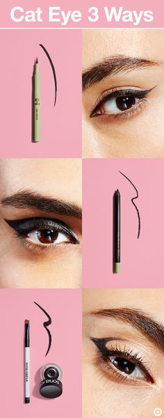 Take the classic cat-eye look from subtle to stunning with a few easy updates. Extend a basic cat eye into the inner corner of the eye, or line the eye and build upward for a thick, winged line. Go graphic and follow the crease of the eye, then connect the wing to the outer corner of the eye. Products, top to bottom: Pixi's Lash Line Ink in Black Silk, Pixi's Endless Silky Eye Pen in Black Noir, and Sonia Kashuk's Dramatically Defining Long Wear Gel Liner in Ebony and Angled Brush.