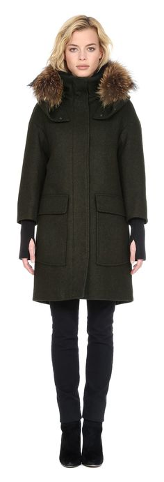 KERRIANE-R Wool parka with removable fur hood trim in Moss