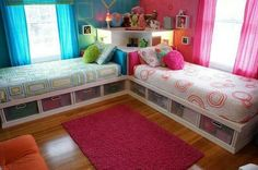 Bedroom for two.  Single bed. Storage.  Colour. Harmony.  Pattern.  Design.  Great idea.