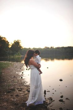 Family Water Poses | Mom and Son | Sunset | Beautiful Light | Sarah-Beth Photography