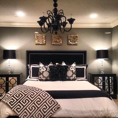 Black Bedroom Furniture Shegetsitfromhermama S Is Stunning With Our Kate Headboard Calais Chandelier Mykonos Throw