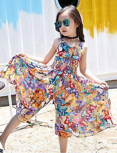 Kids Dresses For Girls Long Beach Dress Casual Sleeveless Vests Dress Summer Children Jumpsuits Baby Girl Dresses, Baby Dress, Flower Girl Dresses, Kids Collection, Casual Jumpsuit, Summer Jumpsuit, Floral Jumpsuit, Dress Casual, Jumpsuits For Girls