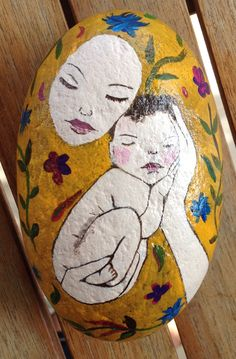 Peace found in Mom's hands (Inspired by Claudia Tremblay) (stone/rock/pebble/rock painting/art)