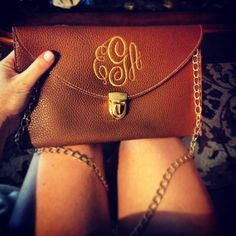 Monogrammed clutch with chain #monogram #finally #monogrammed purse