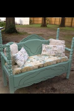 Vintage headboard bench. Saw one of these for sale he other day and I loved the idea!