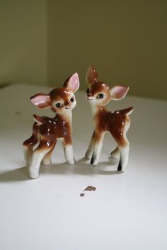 vintage deer figurines 50s bambi fawn forest snow white handpainted disney