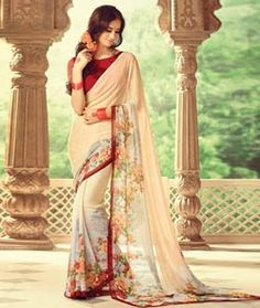 Buy Beige Georgette Printed Saree With Blouse 74826 with blouse online at lowest…