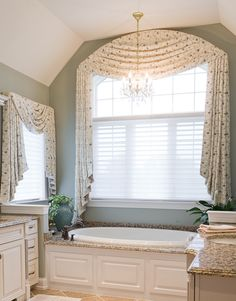 Arched windows are another puzzle . this is not my favorite way to treat an arch . don't like seeing the window molding in the corners, but this is one way to treat this window. Arched Window Coverings, Arched Windows, Custom Blinds, Custom Drapes, Curtains With Blinds, Roman Curtains, Valances, Window Curtains, Low Country Homes