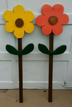 Primitive Wooden Flowers painted wood flowers