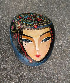 Unique Geisha Face Painted on stone Rock, Stone painting Art - Paperweight