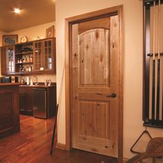 Rustic Wood Interior Doors With Wooden Furniture On Kitchen Layout Unique