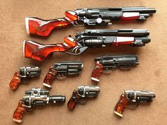 Blade Runner Blaster Collection by Bigbangcollectables Steampunk Weapons, Sci Fi Weapons, Weapon Concept Art, Weapons Guns, Fantasy Weapons, Guns And Ammo, Blade Runner Blaster, Rifles, Future Weapons