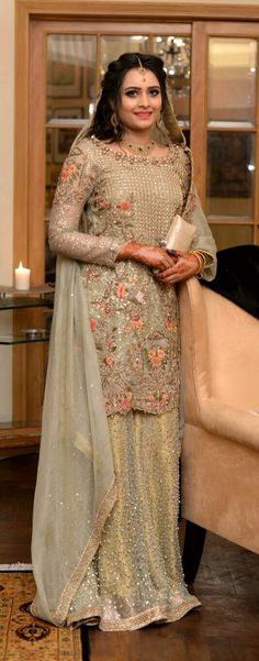 Here are the latest bridal walima dresses in Pakistan which includes a variety of wedding styles such as long frocks or maxi, gowns, short frocks or kurti with lehenga. Walima Dress, Pakistani Formal Dresses, Pakistani Wedding Dresses, Pakistani Outfits, Indian Dresses, Indian Outfits, Sarara Dress, Ethnic Fashion, Asian Fashion