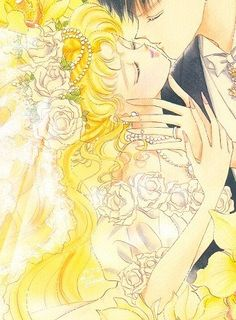 """Usagi Tsukino's wedding dress from anime & manga series """"Sailor Moon."""" It features off the shoulder puffed sleeves & rose trim along bodice."""