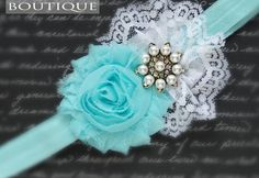 teal and white lace bow
