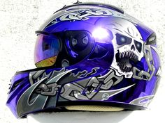 Masei Purple Chrome Skull 822 Flip-Up Motorcycle Helmet Free Shipping!