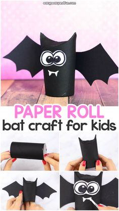 Paper Roll Bat Craft - Great Idea for Halloween Crafting Toilet paper roll bat craft idea for kids. Fun Halloween craft for kids to make with paper rolls.Toilet paper roll bat craft idea for kids. Fun Halloween craft for kids to make with paper rolls. Kids Crafts, Halloween Crafts For Kids To Make, Theme Halloween, Halloween Projects, Toddler Crafts, Preschool Crafts, Halloween Diy, Diy And Crafts, Diy Projects