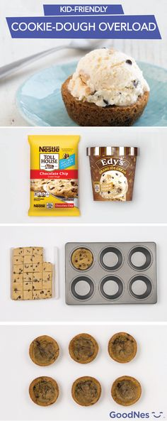At your next party, make a quick and easy dessert that both adults and kids will enjoy. Bake Nestlé® Toll House® Refrigerated Chocolate Chip Cookie Bar Dough in a muffin pan. When done, top the warm cookie with Nestlé® Toll House® Cookie Dough Edy's® Grand Ice Cream. This sweet indulgence will satisfy your sweet tooth.