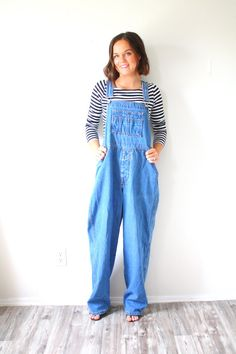 Vintage blue jean overalls // long jean overalls by BeigeVintageCo
