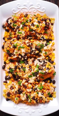 Mexican Street Corn Black Bean Chicken Bake with Chili powder and Cotija cheese. You can also use Feta cheese. Mexican Street Corn Black Bean Chicken Bake with Chili powder and Cotija cheese. You can also use Feta cheese. Corn Recipes, Mexican Food Recipes, Chicken Recipes, Dinner Recipes, Mexican Dinners, Healthy Mexican Food, Recipies, Mushroom Recipes, Restaurant Recipes