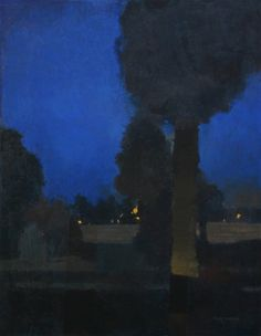 """Night Lights   -   Bart Forbes  American, b.1939-  oil on canvas, 28"""" x 22"""""""