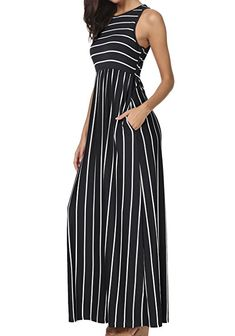 30299008561 levaca Women s Summer Sleeveless Striped Pockets Flowy Casual Long Maxi  Dress at Amazon Women s Clothing store