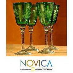 Set of 4 'Emerald Flowers' Etched Wine Glasses (Mexico)