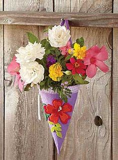 Happy May Day! Hang a May Day basket on a friend's door, ring the doorbell, and run! May Day Baskets, Is It Spring Yet, Happy May, May Days, May Flowers, Crafts For Kids, Floral Wreath, Herbs, Seasons
