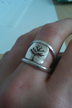 Tree cutout sterling silver ring by amylangdesigns on Etsy