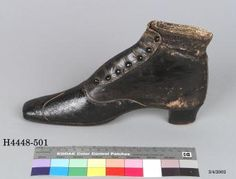 Button ankle boot, women's, leather, linen, and wood, made by Gundry & Sons, prize work, London, England, circa 1851, Powerhouse Museum Collection.