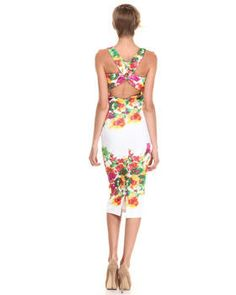 Love this Floral Printed Scuba X-Back Midi Dress by XOXO on DrJays. Take a look and get 20% off your next order!