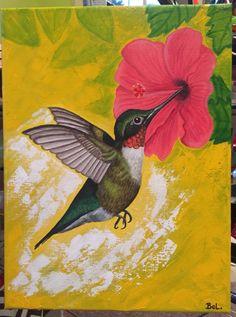 "Hummingbird. Acrylic on 9""X12"" canvas."