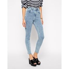 ASOS Ridley Skinny Ankle Grazer Jeans in Retro Acid Wash with Raw Hem (€32) ❤ liked on Polyvore featuring jeans, pants, acid wash, super skinny jeans, stretch denim jeans, skinny ankle jeans, high-waisted jeans and skinny jeans