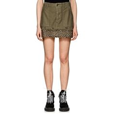 794216407 R13 Women's Fatigue Washed Cotton Canvas Miniskirt (£230) ❤ liked on  Polyvore featuring