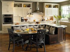 built in bench and kitchen island. Great design!