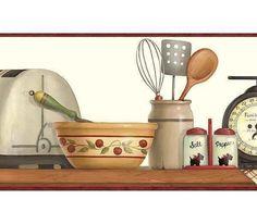 Wallpaper Border Red Vintage 1950s Kitchen Shelf Utensils Cow Black Scotties