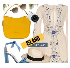 """Getaway"" by mezzanotteofficial ❤ liked on Polyvore featuring Roxy, Alexandre Birman, Nikon, Hampton Sun, yellow and Blue"