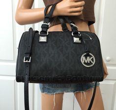 Michael Kors MK Signature PVC Medium Satchel Grayson Tote Bag Black Crossbody #MichaelKors #ShoulderBag