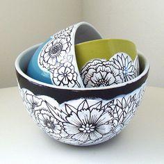 Ceramic Nesting Bowls Sprint Flowers Painted Green by sewZinski