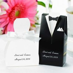Add a classic touch to your reception table with these elegant tuxedo and bride favor boxes. Our elegant favor boxes can be foil-printed with your names and date of your event in your choice of print color.